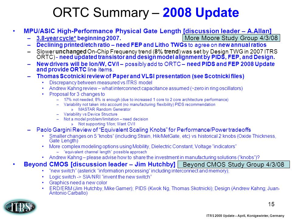 ORTC Summary – 2008 Update MPU/ASIC High-Performance Physical Gate Length [discussion leader – A.Allan]